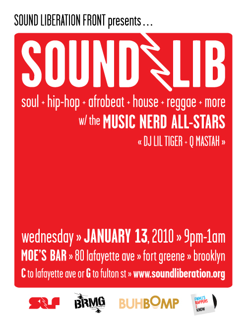 SoundLib :: 01/13 WED @ Moe's :: Fort Greene, Brooklyn